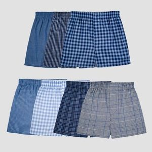Fruit of the Loom Boys' 7 Pk Plaid Boxers Size L